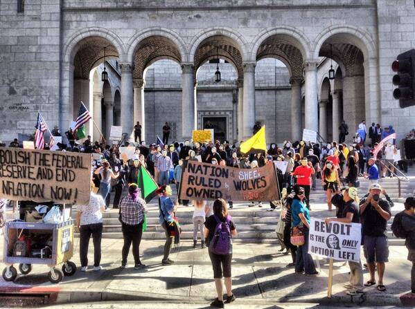 """""""You're either with us, or with the real terrorists."""" #MillionMaskMarch #DTLA"""