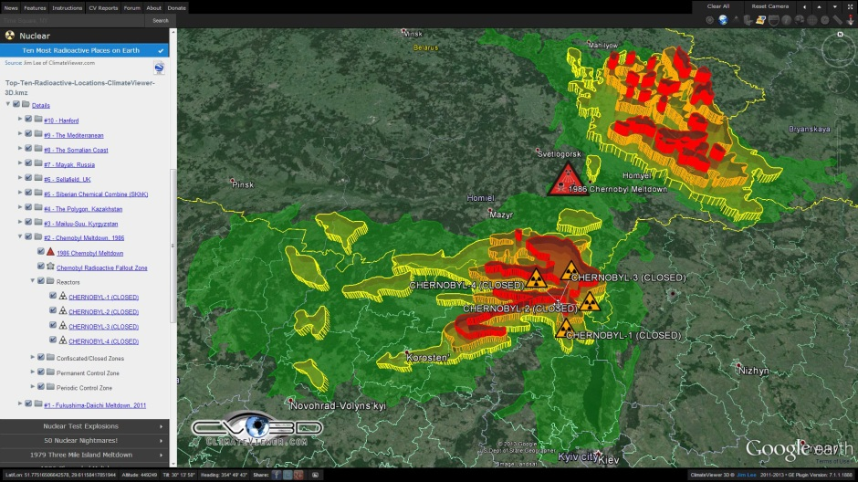 Chernobyl radioactive fallout exclusion zone on ClimateViewer 3D