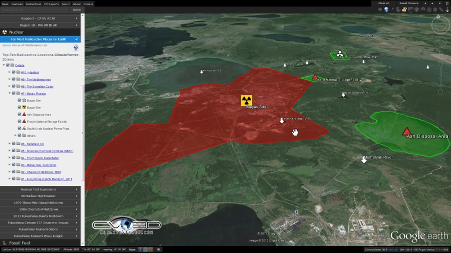 Mayak Chemical Combine Russia on ClimateViewer 3D