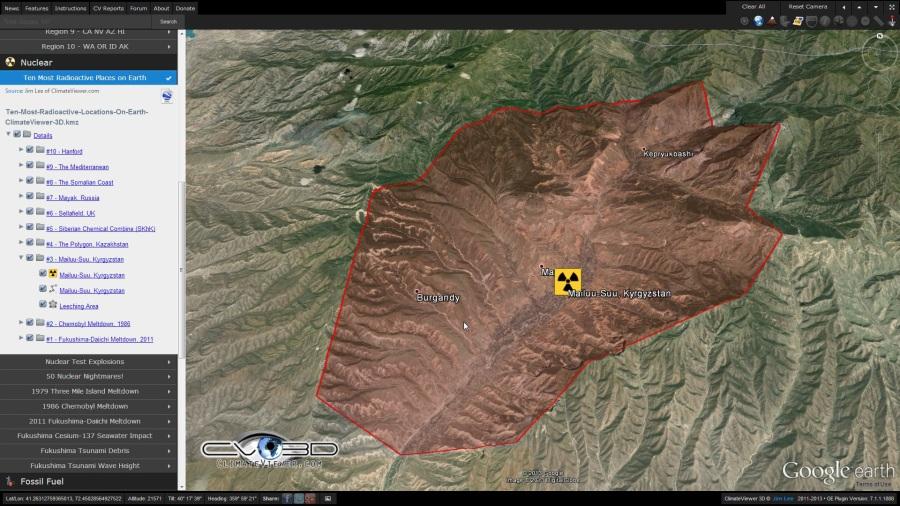Maylisuu, Kyrgyzstan radioactive leeching on ClimateViewer 3D