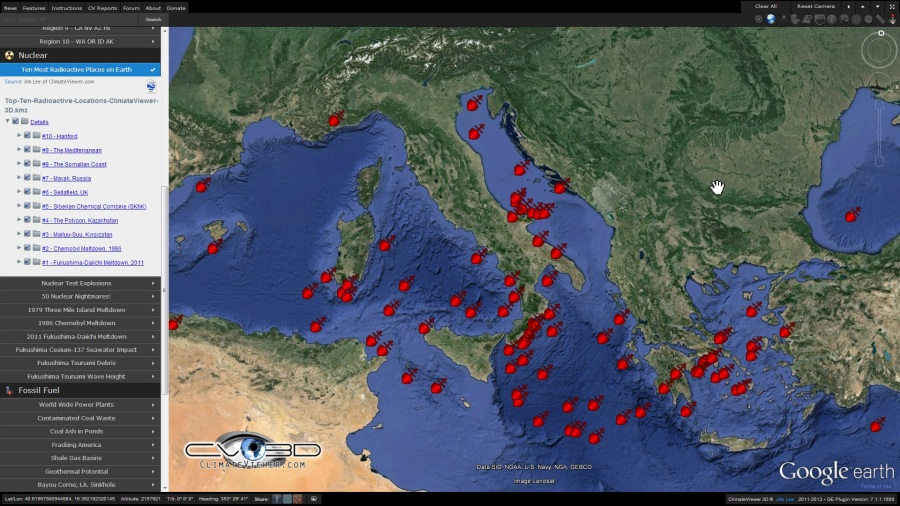 sinkings and incidents in the Mediterranean Sea, involving ships which are suspected of having carried toxic and radioactive waste on ClimateViewer 3D