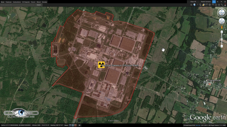 Paducah Gaseous Diffusion Plant on ClimateViewer 3D