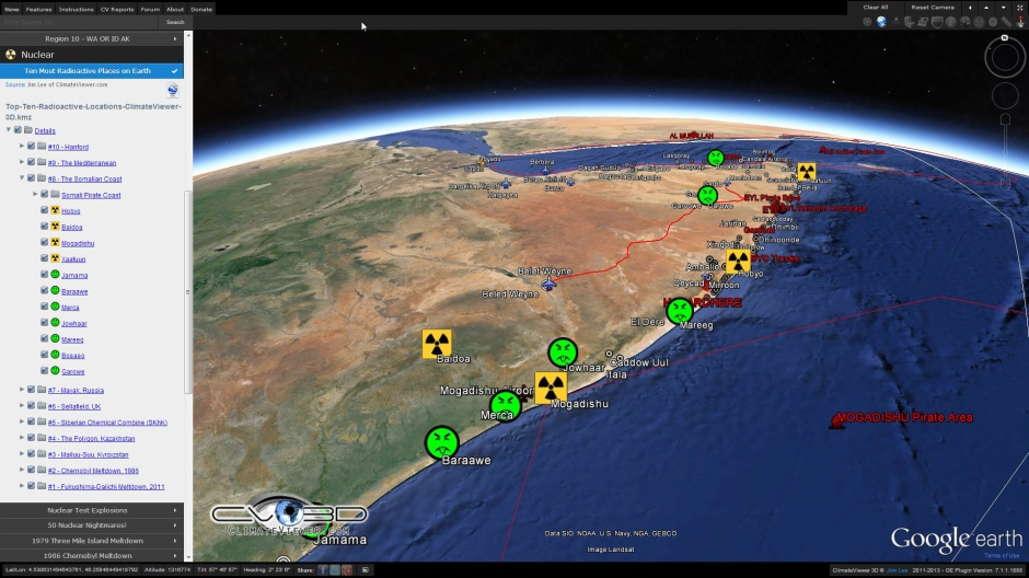 Somalian illegal nuclear and toxic waste dumping and piracy on ClimateViewer 3D