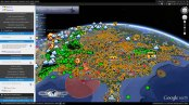 This image shows our Climate Viewer 3D app displaying the following layers: North American Pollutant Releases and Transfers, ten most radioactive places on Earth, nuclear test explosions, 50 nuclear nightmares, world wide power plants, contaminated coal waste, fracking America, worst oil spills in history, Weather Modification Association and NOAA 2012 cloud seeding projects