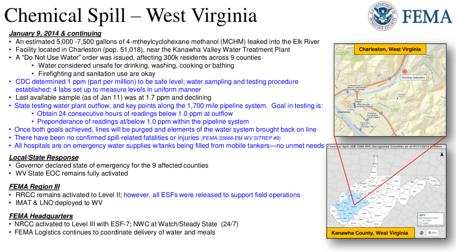 FEMA Daily Operations Breif December 12, 2014 - Chemical Spill Charleston West Virginia 01