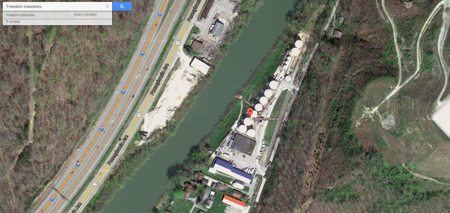 Freedom Industries - Charleston West Virginia 4-Methylcyclohexanemethanol spill January 2014 on Google Maps