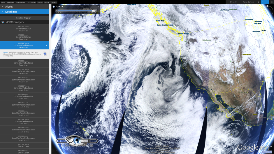 ship tracks real color MODIS Terra Corrected Reflectence Bands January 30 2014 Climate Viewer 3D climateviewer.com
