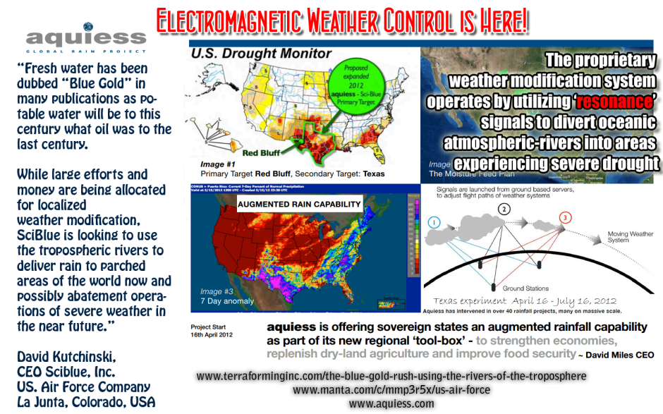Aquiess and Sciblue team up to end Texas drought using cloud ionization - April thru July 2012