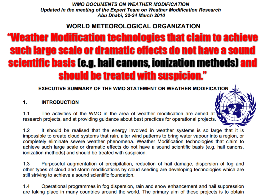 WMO Statement - Large-scale weather modification should be treated with suspicion - like Geoengineering SRM by Jim rezn8d Lee