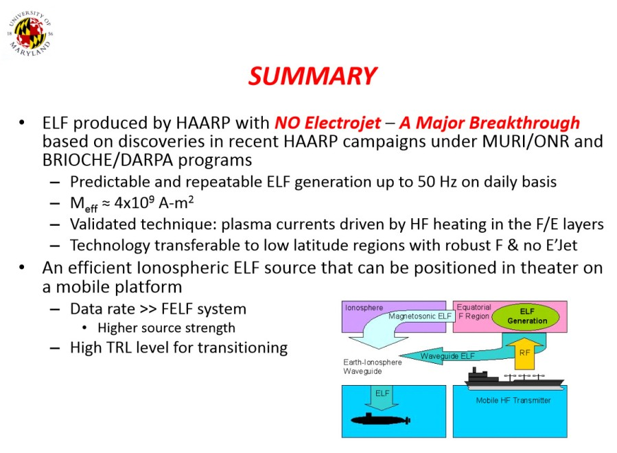 On the Viability and Requirements of a Barge Based ELF System, 2010 [10]