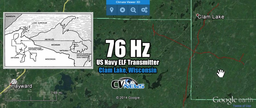 "Clam Lake, Wisconsin, USA Frequency: 76 Hz at 3 MW (3,000 kW) The U.S. Navy operates two extremely low frequency radio transmitters to communicate with its deep diving submarines. The sites at Clam Lake, Wisconsin and Republic, Michigan are operated by the Naval Computer and Telecommunications Area Master Station – Atlantic. The Clam Lake site, located in the Chequamegon National Forest in Northern Wisconsin, is the site where testing began for ELF communications more than 30 years ago. The site has more than 28 miles of over-head signal transmission line thatform part of the ""electrical"" antenna to radiate the ELF signal from the two-acre transmitting facility. The Clam Lake ELF radio station broadcasts messages to the fleet as required by the Navy Submarine Broadcast Control Authority in Norfolk, Virginia or Pearl Harbor, Hawaii. For the U.S. submarine fleet to perform its mission, it must remain silent and be undetectable. The Navy's ELF communications system is the only operational communications system that can penetrate seawater to great depths and is virtually jam proof from both natural and man-made interference."