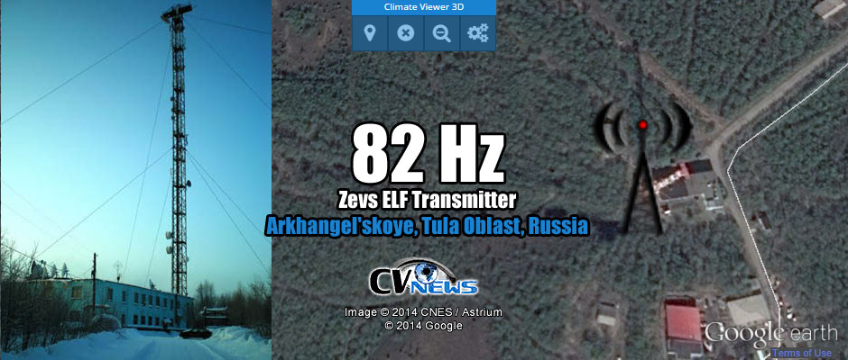 Zevs, 82 Hz ELF transmitter Arkhangel'skoye, Tula Oblast, Russia Calculations performed on data collected back in 1990, also show us that the 82 Hz Zevs ELF transmitter is 10 dB more powerful then the US Navy 76 Hz ELF transmissions from the dual WMT/MTF sites.