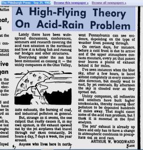 A High Flying Theory on Acid Rain Problem
