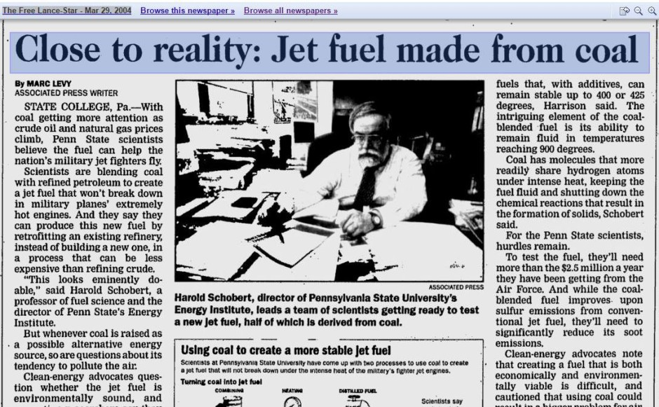Jet Fuel Made From Coal