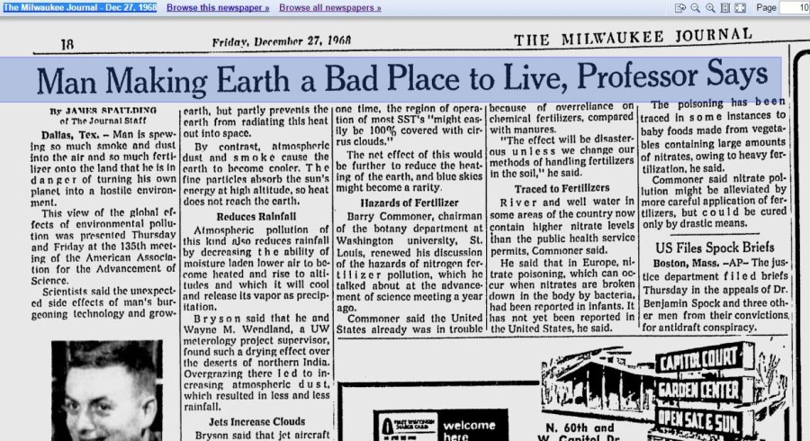 Man Making Earth A Bad Place To Live Professor Says 1968