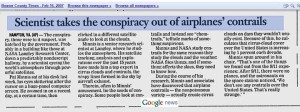 Scientist takes out the conspiracy out of airplanes contrails